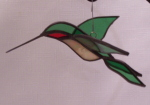 3D Hummingbird Ornament - Green, Red Throat