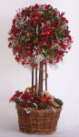 "Topiary Tree, 13"" Red Poinsettia"
