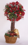 "SOLD - Topiary Tree, 9"" Red Poinsettia"