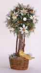 "Topiary Tree, 9"" White Poinsettia"