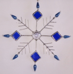Ornament - Beaded Snowflake - Blue