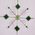 Ornament - Beaded Snowflake - Green