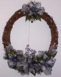Reindeer Wreath with Blue Poinsettias