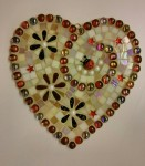 Mosaic Red Flowered Heart