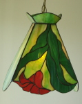 Swag Lamp, Green with Red flower
