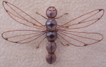 3D Ornament - Marble Dragonfly - Mauve Copper Patina